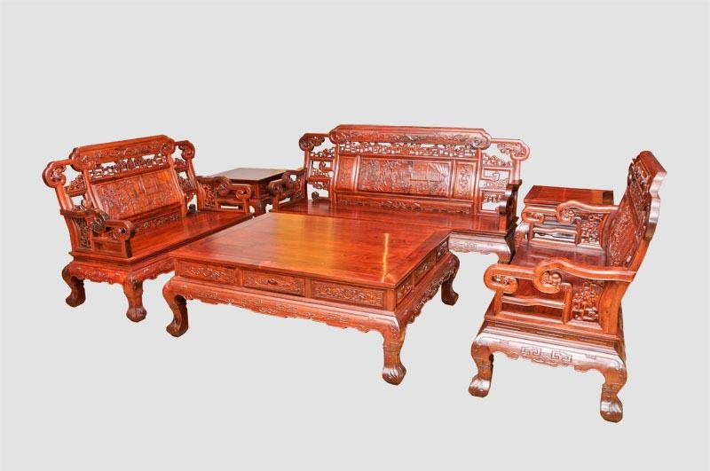 宝座沙发6件套(木材:老挝花枝)